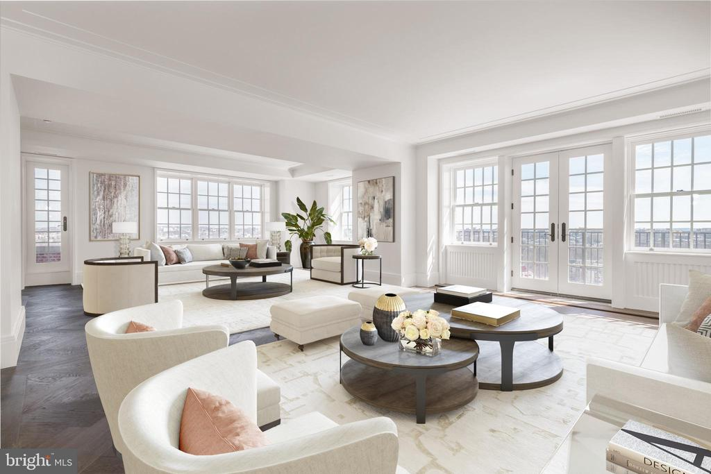 Expansive and Sun-Filled Living Room - 2660 CONNECTICUT AVE NW #7D, WASHINGTON