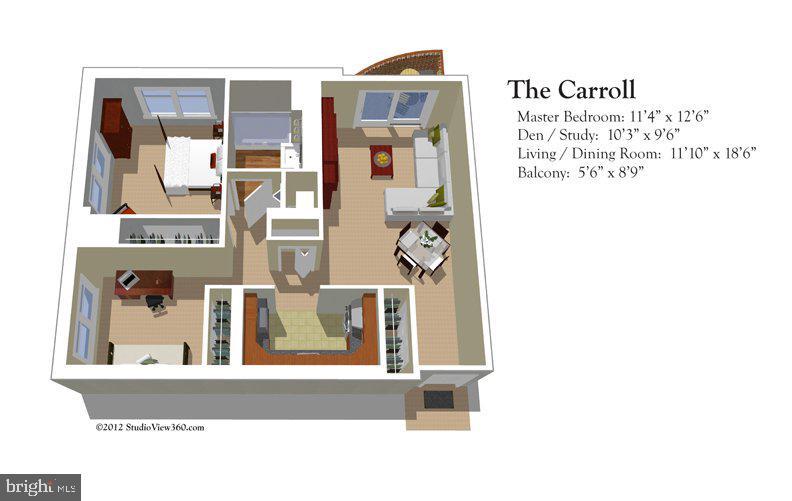Floor plan of the Carroll model - 900 N TAYLOR ST #724, ARLINGTON
