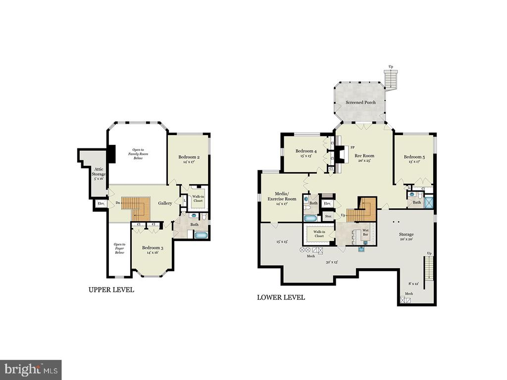 Upper and Lower Level Floor Plans - 9403 LUDGATE DR, ALEXANDRIA