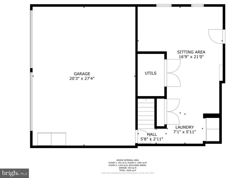 Lower level floor plan with HUGE garage - 131 EUSTACE RD, STAFFORD