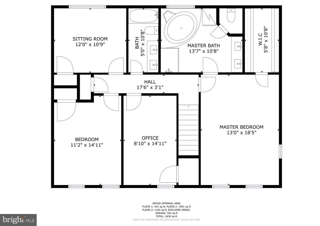Upper level floor plan - 131 EUSTACE RD, STAFFORD