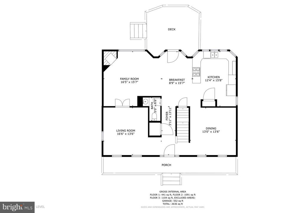 Main level floor plan w/ only part of deck - 131 EUSTACE RD, STAFFORD