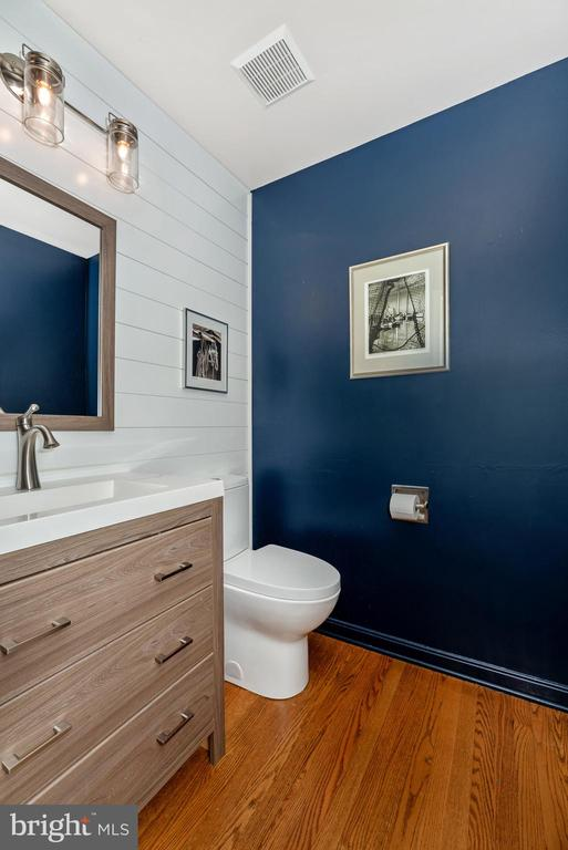 Powder room with ship lap and updates - 8221 FOX HUNT LN, FREDERICK