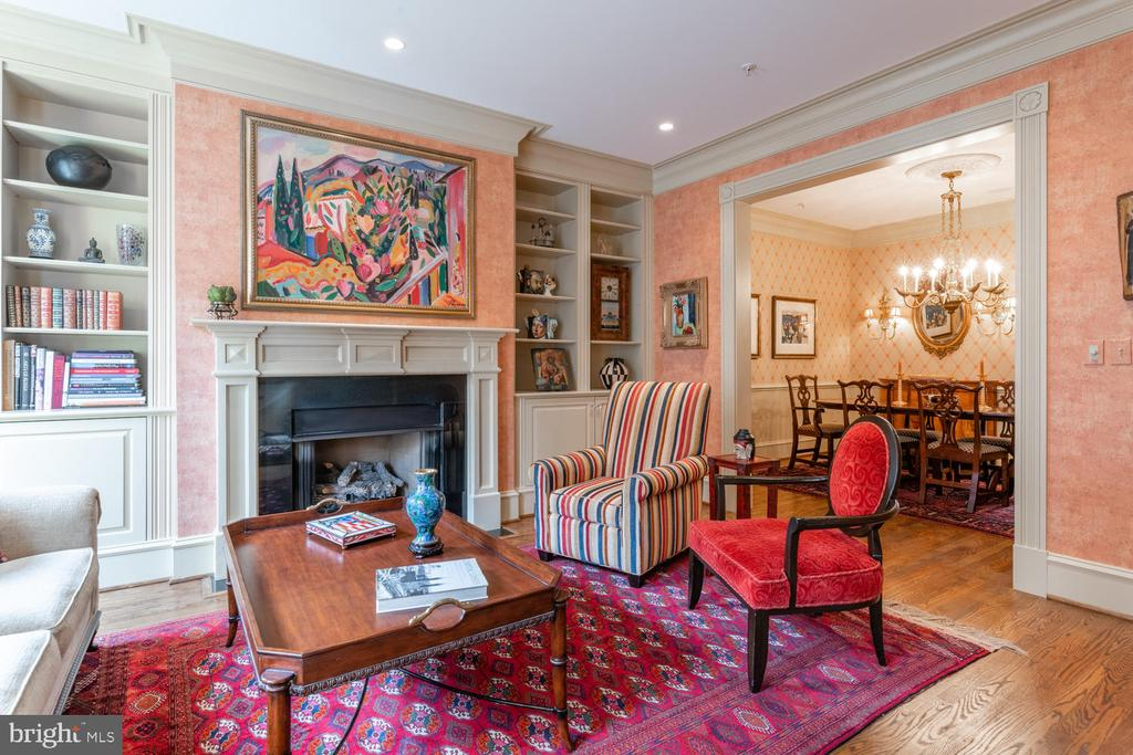 Gas Fireplace and Bookcases in Living Room - 723 S UNION ST, ALEXANDRIA