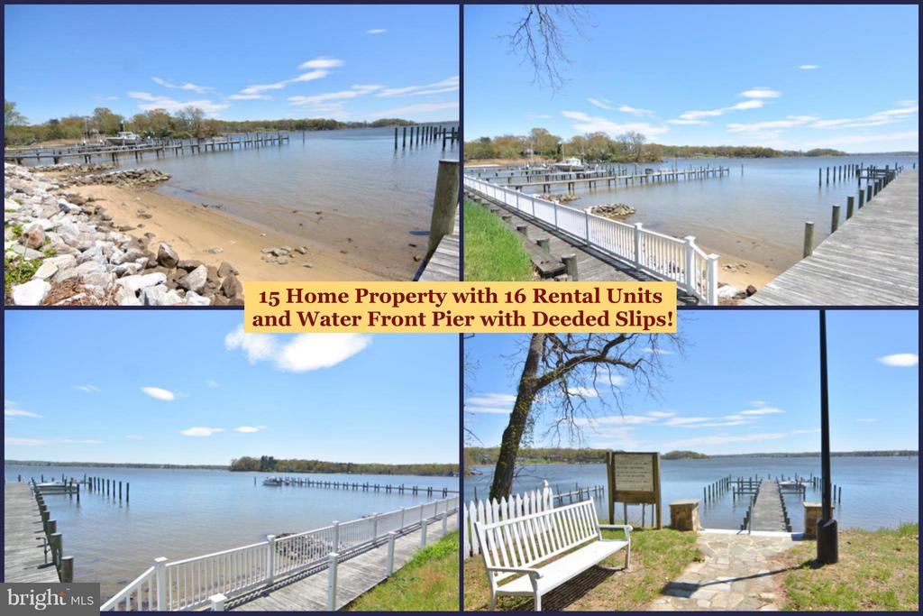 Wonderful investment opportunity to own 15 rental units (one is duplex for total of 16 rentals). Keep as rentals or create condo regime and sell off individually. Water front amenities include pier with deeded slips. 4 homes are waterfront homes, nearly all have water views. Each unit w individual septic, community well house and pumps service all homes. Wood floors, fireplaces, some newer homes.