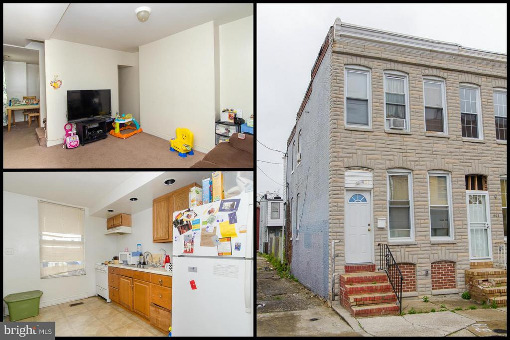 TURN KEY END OF GROUP ROWHOME WITH FENCED PATIO!  Main level with living room, dining room, and kitchen, upper level with three bedrooms & 1 full bath, full unfinished basement for storage, and fenced rear patio! Currently occupied, tenant paying $925/mo. rent.