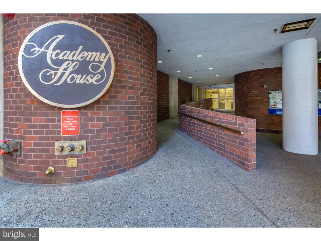 Academy House with a great view of Center City!  Gorgeous hardwood floors.  Modern kitchen with really nice cabinets and granite counters! There is a nice dining area between the kitchen and living room.  Ample storage space especially for a one bedroom and all closets have been outfitted with Elpha custom systems. The bathroom is also recently renovated and has a Bosch Washer Dryer.   Academy House is one of the cities best buildings with a 24 hour doorman, a new lobby and an amenities floor.  All utilities are included in the price even basic cable.  There are tons of monthly parking lots in the area.  Available March 1.  Rent may be negotiable for longer lease.