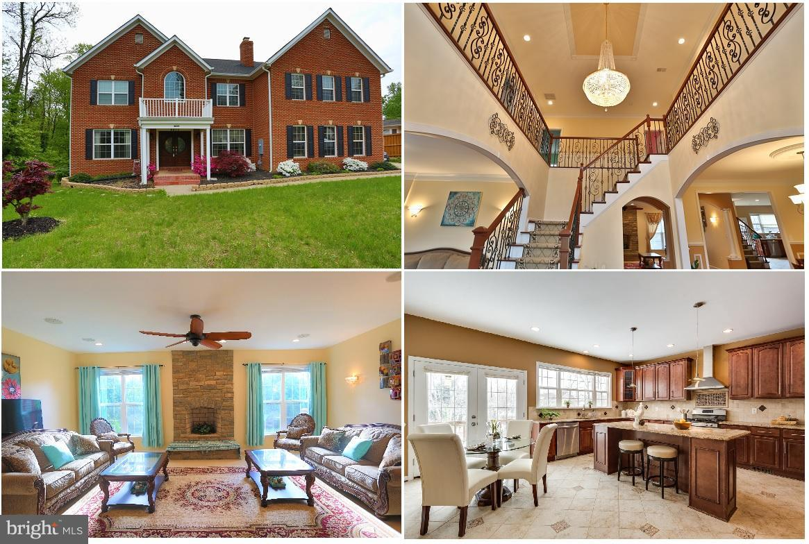 Priced below assessment! Grand two story foyer, dual bamboo staircases. 4-sided Brick Colonial on 1/2 ac. about 7,000sf w/ 7BR/5.5 BA,3 wood FPs, HW floors. Huge master suite w/i FP & w/i closet & office. DBL shower. Granite in kit & baths. Walkout level Basement w/ 3 BRs, 2BAs, large rec room, lots of potential. Large deck, huge backyard. Pool, Community Center and Tennis. No HOA! 10 mins to DC!