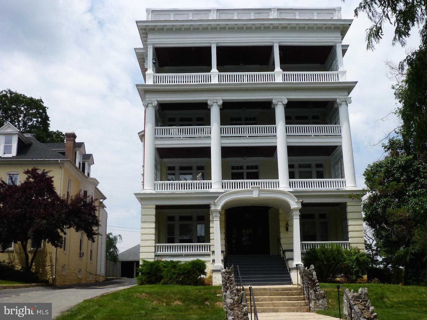 This Prestigious and unique 4 stories Victorian building Commonly known as the Mount Royal Apartments, is located in the North End of Hagerstown in a quiet suburban Street and features 9 over-sized all 2bed/1bath, separate dining room, living room  apartment units with central A/C containing 1,080+/- SF on each