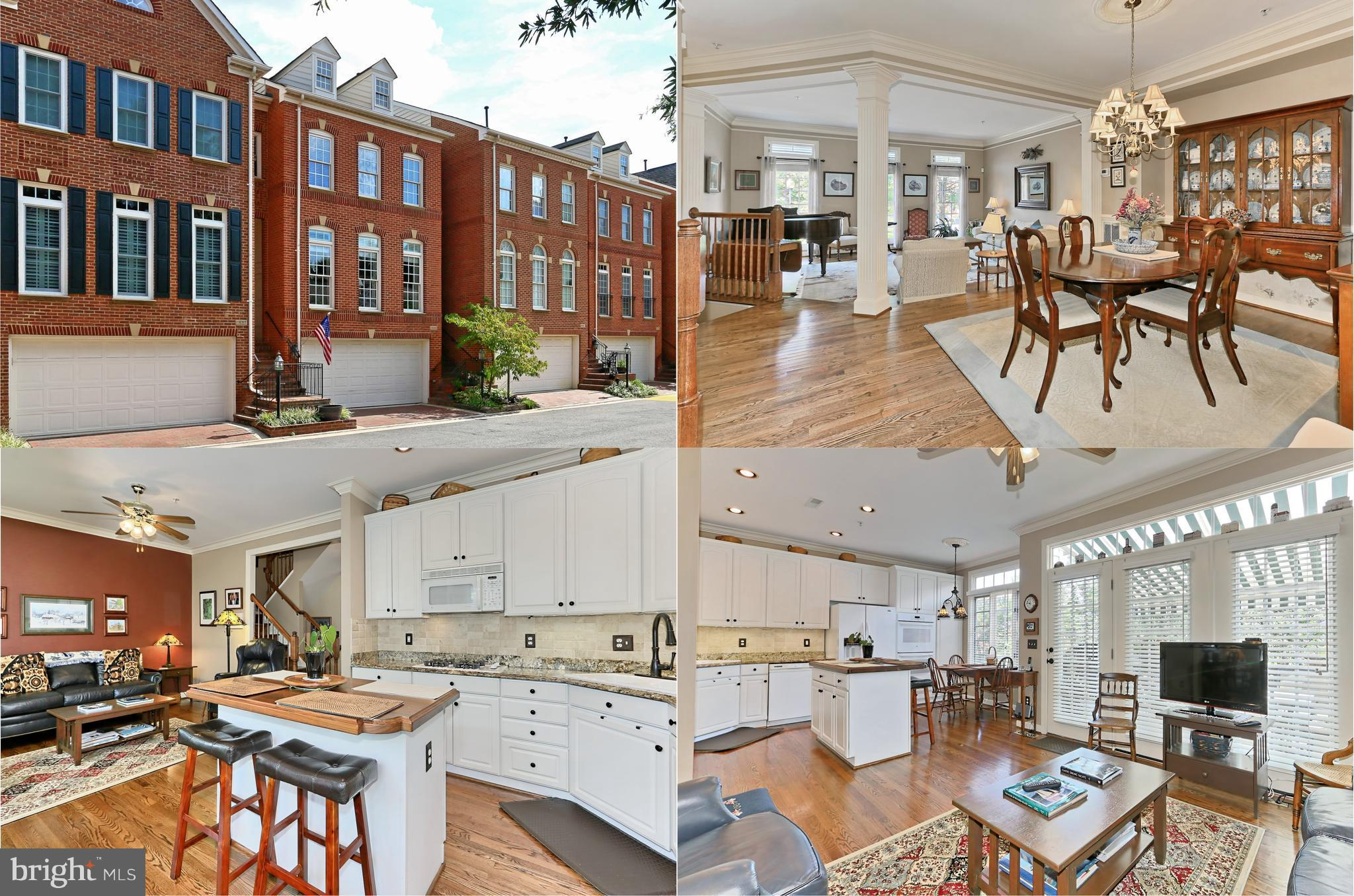Gorgeous 4 level, 4 BR, 3.5 BA TH w/2 car garage in fabulous location! Solid wood front door, 9' ceilings, refinished hardwds, custom moldings, upgraded hardware! LR & DR, gourmet kitchen w/granite, custom walnut island opens to fam rm & deck w/retractable awning! MBR w/hdwd, luxury BA, large private upper level BR! LL rec rm w/FP leads to patio, landscaped fenced yard. New HVAC, HWH, W&D & more!