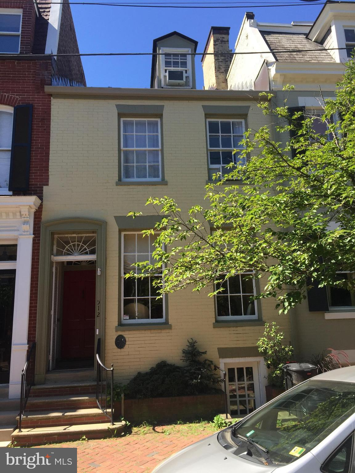 This historic townhouse in the heart of OLD TOWN is on the market for the first time in over 50 years. Just one block from King St. & 4 blocks to the river. Currently sold AS IS and with 2988 sq ft of rehab potential. Entire house covered entirely with wood floors and has three beautiful fireplaces.  Bring your clients who want  their own input on a restoration project. Show and sell.