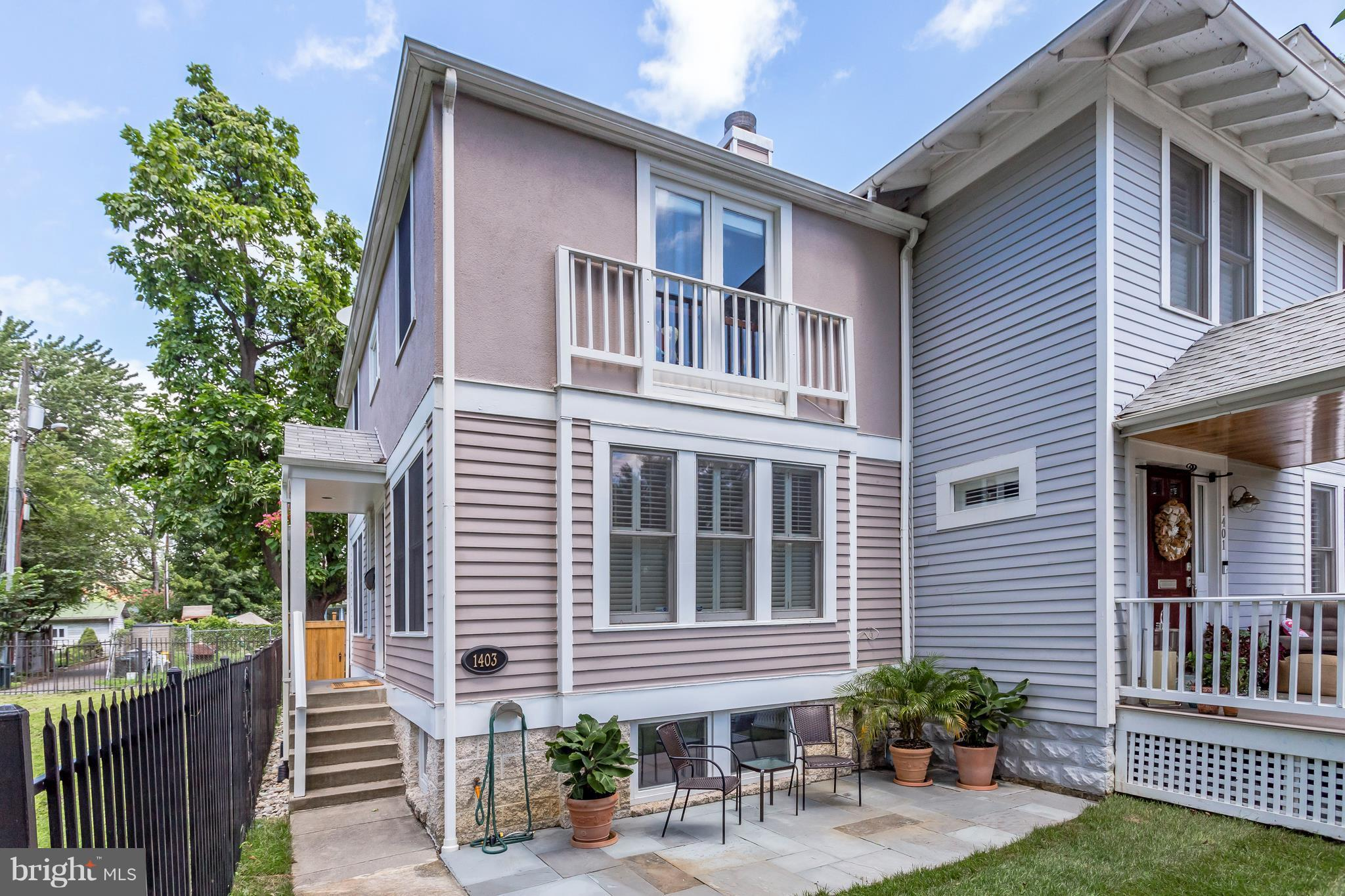 Just lowered price $20K! Sunny & Spacious TH built in 1993.Private front yard & patio space,rear composite deck & off street parking! Lg Kit. w/gas stove,pro-style hood,all SS appliances,Granite C'tops & Table Space opens to rear yard.Huge bedrms all w/their own private bath.High Ceilings,HWF's,2 Fireplaces,Plantation Shutters,Recessed Lighting,Fully Finished LL. Floorplans in Virtual Tour.