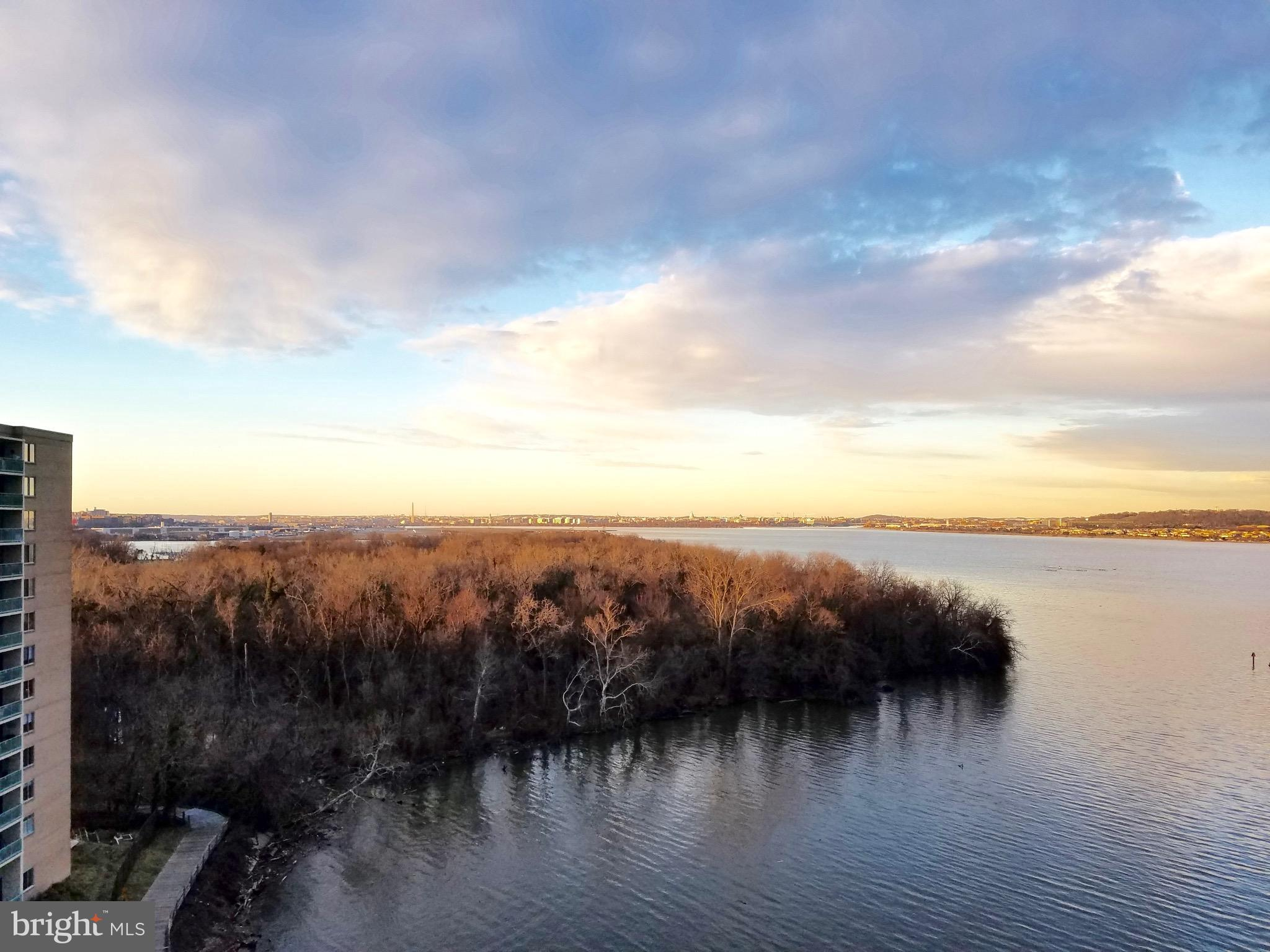 Price Reduced! Stunning views from this updated waterfront end-unit 10th floor condo featuring a completely updated kitchen, hrdwd flrs throughout, updated windows, custom built-ins & commanding views of the Potomac River & all of the monumuents of the DC skyline. All utilities incl. in condo fee. 2 BR, 2 full baths & 1,168 sq.ft. of incredible waterfront living space. Parking incl until 7/29/2019