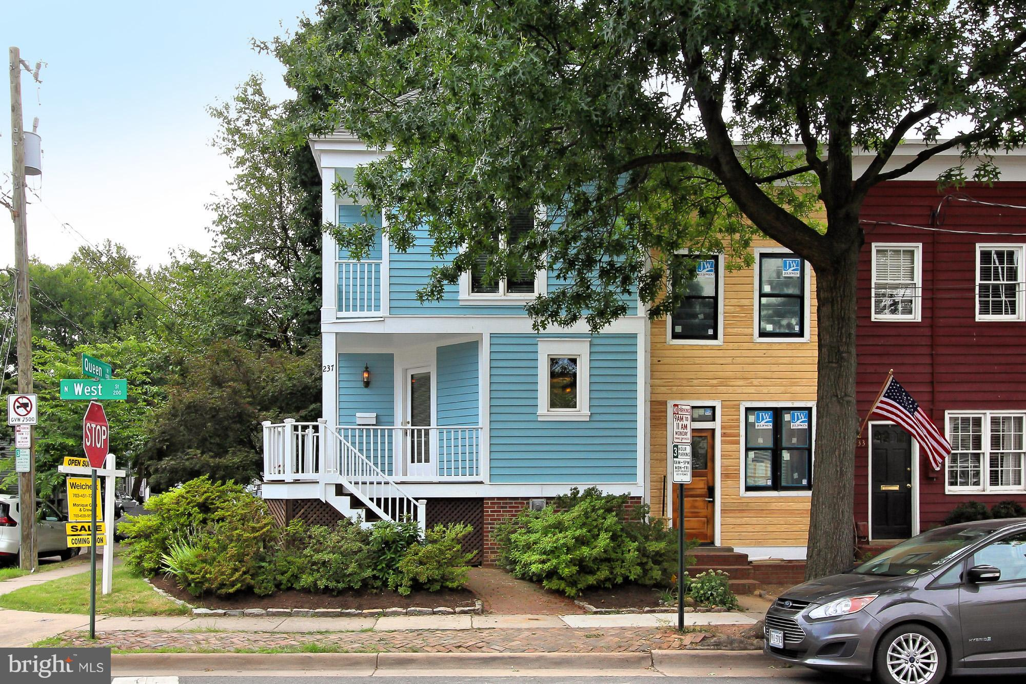 OPEN 11-2 SAT 10/20 Beaut corner home! 4 blocks to Braddock Rd & King St Metros. New roof, windows, & hardiplank all 2012. Kit w/European SS appls (2014 Fridge) & granite. 2 spacious BR w/balconies. Spiral stairs to 3rd lvl BR + roof top deck & super storage! LR has soaring ceil, cozy corner FP & French doors to charming brick patio. Gleaming hardwood flrs & fresh paint thruout. Off street parking