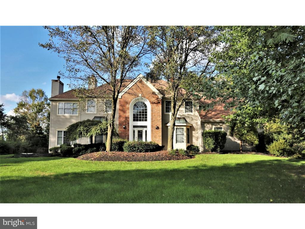 """Beautiful STOCKTON MODEL with 5 bedrooms, 3.5 baths single family home is nestled in a quiet cul-de-sac that BACK TO WOODS in sought-after Brentwood Estates, in the excellent blue ribbon award winning West Windsor-Plainsboro school district. Absolutely ready to move in w/numerous upgrades incl: A/C 1ST zone (2015) and 2nd zone (2016); KITCHEN fully renovated in (2015) done by CRANBURY DESIGN CENTER; Also MASTER bath and HALL bath fully renovated in (2014) done by CRANBURY DESIGN CENTER; NEW POOL LINER and COVER (2013); NEW POOL HEATER (2014); upgraded FRONT & BACK DOOR (2013); freshly painted bedrooms and hallway (2017). TOTAL of $150k in upgrades!! The brick facade welcomes you and greets you in a 2-story sun lit foyer which has Palladian window with NEWER leaded GLASS door. The gleaming new bamboo wood floors in the formal living room, dining room, and entry floor for a great look. The heart of the home features a GOURMET KITCHEN, done in 2015 by CRANBURY DESIGN center with 42"""" cabinets, a very nice size island, top of the class stainless steel appliances, Granite counter tops, glass back-splash, powerful hood. Adjacent to the kitchen is the spacious family room with big windows and a gas fireplace. The 5th bedroom, on the main floor, with a full bath is great for in-laws or guests. In addition, a conservatory that can be used as a study or office on the main floor and renovated powder room complete this floor. Upstairs features a master suite with a sitting room with a gas fire place, two California walk-in closets and a fully renovated MASTER-BATH with heated floors, Victorian tub, wide size stall shower, and 2 big vanities, sky light was done in 2014 by CRANBURY DESIGN center with modern touch. The other 3 rooms share the 2nd fully renovated bath, was also done by CRANBURY DESIGN center. The heated pool in the backyard is great for the summer and fall. A full sized deck and backyard backing to woods can be used for gatherings. Great location ? close to train st"""