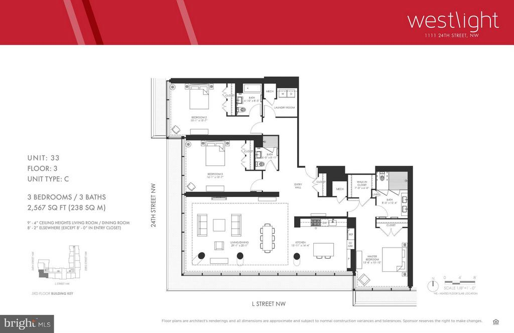 Spectacular 2,567 sq.ft. 3 BR, 3 BA corner unit in Westlight, Eastbanc's newest luxury project.  71 high-end condos with 49 floor plans in the heart of vibrant West End.  Corner unit w light streaming through the floor-to-ceiling windows. Wood floors, energy efficient appl, recessed lights.  24-hour desk,concierge, wi-fi throughout, 25-meter roof top pool and patios, parking, fitness center.