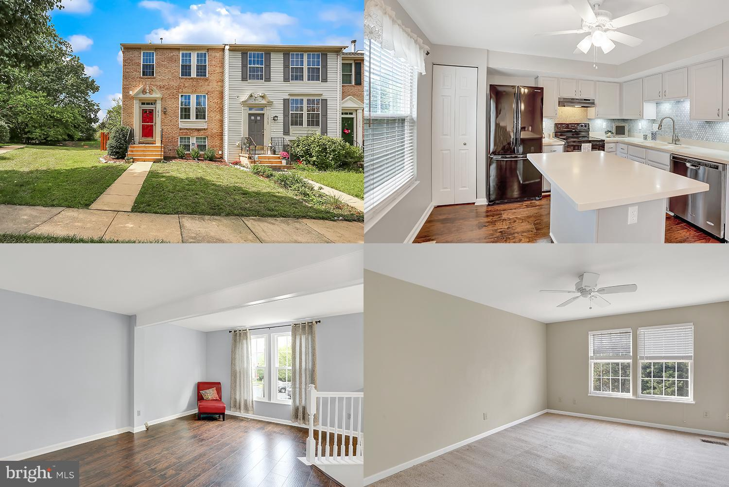 Beautiful brick front, end unit townhouse with tons of natural light in sought after Old Bridge Estates, offers hardwood floors and updated kitchen on main level with french doors leading to large deck. The lower level features  a finished rec room with a charming gas fireplace and walkup to a massive stamped patio for entertaining. Storage RM Backs to trees for privacy. Great commuter location!
