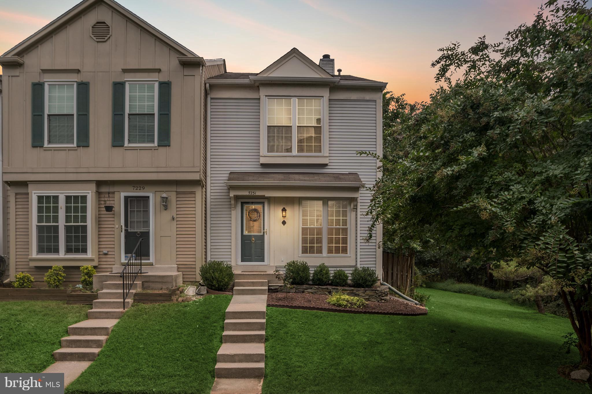 Beautiful 3-level End-Unit adjoins Huntley Meadows Park. Fantastic private & quiet location. Numerous updates: New windows (2017), floors (2016), refrigerator (2014), Hot Water Heater (2015). Two Master Bedrooms, each with en-suite bath. Living room has wood-burning fireplace. Lower lvl now a guest BR - great for rec room, exercise room, office, etc. Assumable FHA loan @ 3.25%. Home Warranty!