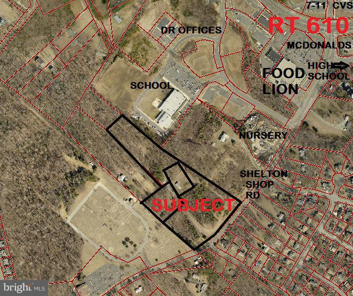 10 ACS (3 PARCELS) PLANNED COMMERCIAL IDEALLY LOCATED JUST OFF RT 610!  High traffic Volume area on Shelton Shop Rd area of growing commercial!  Proximate to Food Lion Shopping Cntr, 7-11, CVS, N.Stafford High, FC Academy, VA Memorial Gardens, medical offices, MORE!  Long Rd Front provides excellent visibility.  Public utilities on Shelton Shop Rd. (Modular does not convey)