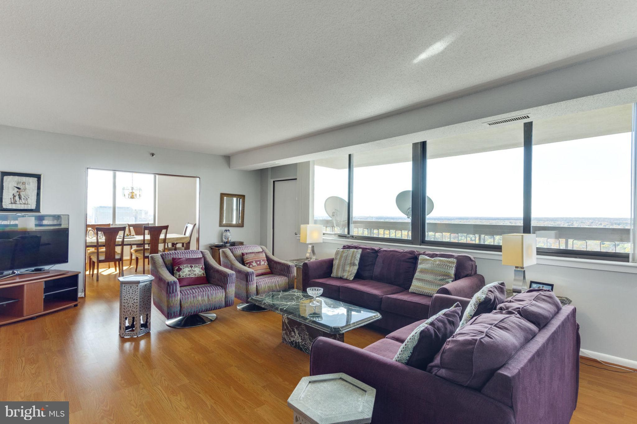 Fully Furnished Biggest Model: 3 BR/3FB/TWO par. sp./TWO Balconies- Brand New Blinds throughout, Prof. Painted 'Sherwin Williams 'Alpaca'. Easy Access to I-395, Washington DC, RNA, Skyline Shopping Mall,  Shirlington. Amenities: 24/7 front desk, Sec. guard, 3 gyms, library, billiard /party rooms, etc. Check the Shuttle schedule!