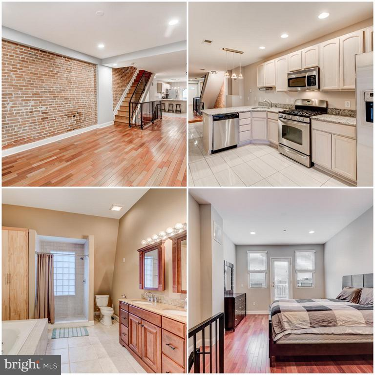 Fantastic Renovated Rental w/ 3 Large Bedrooms - each has it's own PRIVATE full bathroom. Spacious main level living area and open updated kitchen w/ stainless steel appliances, granite counter tops & large pantry. Hardwood floors throughout, fresh neutral paint. Finished basement perfect  for office or extra storage. Laundry and 2 Bedrooms on 2nd level, one w/ private deck. Entire 3rd level is master suite with large walk-in closet and luxurious master bath with soaking tub, separate shower and dual vanity. Spacious deck off the 3rd floor master bedroom. Property has a parking pad & plenty of street parking! Great restaurants, bars/nightlife & the harbor just steps away. Easy commuter location; right off 95.
