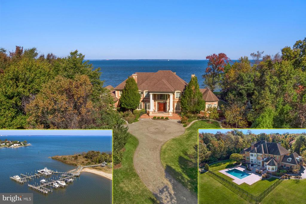 Absolutely stunning and meticulously maintained brick home situated on a 2+ acre waterfront lot with expansive views across the Chesapeake Bay. The unique and very private setting, with its' spectacular approach, only hints at the grandeur of this magnificent manor home.  The outdoor living space is great for enjoying the waterfront lifestyle with a heated in-ground pool, extensive hardscaping, and a level waterside yard. Bodkin Pointe offers a marina with deep-water slips, beach, and tennis courts; all are a short walking distance away. As you step into the grand two-story foyer with marble floors and gorgeous, curved double staircase, you are immediately impressed by the intricate detailing that is present throughout the home. Noted builder Guy Pilli managed the construction of this 12,000+ square foot home and his level of precise implementation is evident. The custom painting, crown molding, and architectural details are just a few of the visually pleasing particulars found here. The foyer is flanked by a formal living room with hardwood floors and gas fireplace with marble surround; and, to the left, you'll find  the formal dining room also with hardwood floors and gas fireplace with marble surround. Through the dining room is a large butler's pantry that leads to the gourmet chef's kitchen. Sure to please even the pickiest of cooks, the kitchen leaves nothing to the imagination. Granite countertops adorn the breakfast bar, center island, and built-in prep space.  The top-of-the line appliances include 4-burner gas Dacor cooktop with griddle and downdraft, a Sub-Zero refrigerator, two wall ovens, two dishwashers, and a built-in microwave.  There is an informal dining space with huge water views, a built-in china cabinet, tray ceiling, and French doors that open to a four-season sunroom.  Adjacent to the dining space is a wet bar galley with prep sink and fridge that opens to the great room.  This space is truly magnificent with a stone wall, gas fireplace with hearth, hardwood floors, walls of glass facing the water, crown molding, and French doors that lead to the waterside paver patio. The right wing of the main level has a music room with marble floors and tray ceiling, a home office with plenty of cabinetry, and a bedroom with en-suite bathroom facing the garden. There's a formal powder room as well as a mudroom, with powder room, that provides access to the three car garage, and a wine storage room. Upstairs, there is an elegant master bedroom suite and four bedrooms, each with private bathroom.  The super master suite features water views, a private balcony, a separate sitting area with wet bar and two-sided gas fireplace,  and a built-in armoire. There is a large dressing room with custom built-in shelving and drawers and a center island.  The luxurious master bath has two marble vanities, an oversized jetted-tub, spa shower with multiple shower heads and sprays, and a separate water closet. Also on this level is a laundry room with built-in ironing table and wash basin. The finished lower level offers additional space that is great for guests, entertaining, and recreation.  The home gym is set up with a rubber tiled floor and features a sauna and ceiling to floor tiled shower with built-in bench.  There's also a second great room with gas fireplace, a full bar and a door that leads out to the pool.  There is a billiards room, comfy home theater with wrap-around couch, and an additional playroom with half bath.  There is also a seventh bedroom on this level with private bathroom. The fully integrated audio system can be found throughout the home, inside and out, including this lower level. This is the perfect community for those who value their privacy or want a lock-it-and-leave-it option. And, the community marina has deep-water slips in a protected location. Bodkin Pointe is positioned for an excellent commute to Baltimore yet also provides easy access to Annapolis and DC. LIVE VIDEO TOUR AVAILABLE.