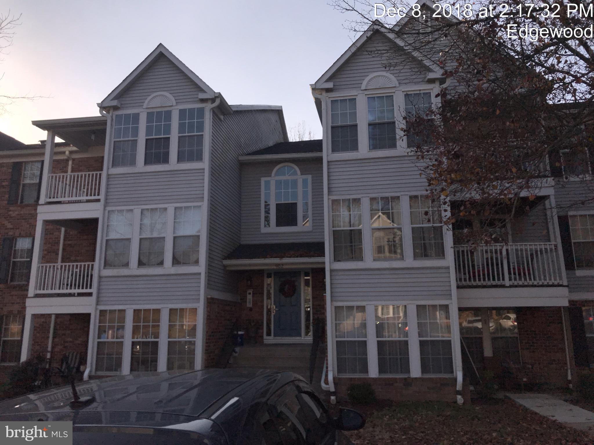 1st floor Condo with front and rear entrance. Rear patio and backs to woods. 2 bedroom, 1 bath with large living room and separate dining/sun room. Kitchen counter/bar space. Close to I95, shopping, APG, work and water for boating!