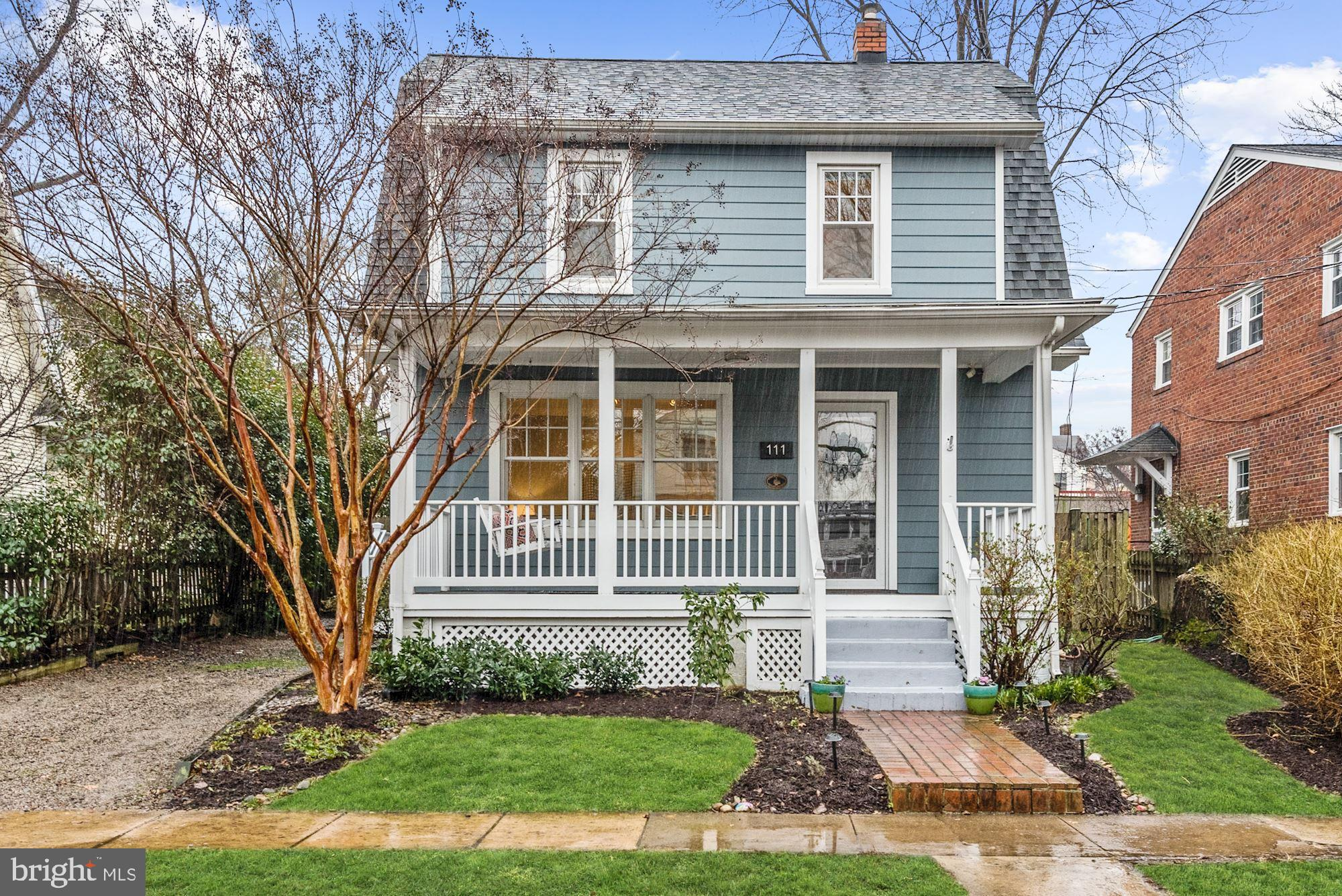 Wonderful, expanded dutch colonial with charming front porch is just one block from Del Ray's popular shops and restaurants. This home was renovated and expanded in 2014. The fabulous open floorplan of the home effortlessly blends the updates for today's living without losing the character of the period of the home. The home features a family room addition, main level powder room and four bedrooms on upper level including master with ensuite bath and walk-in closet. Gorgeous kitchen with sleek cabinetry, beautiful granite counters, expansive breakfast bar, and stainless steel appliances. The light-filled family room has a cozy gas fireplace, recessed lighting, large dining area and French doors leading to the backyard. Side entrance with large hall closet and space for shelving. Fully fenced back yard for outdoor entertaining with playset, zipline and storage shed. Off-street parking. Enjoy living in the heart of Del Ray.