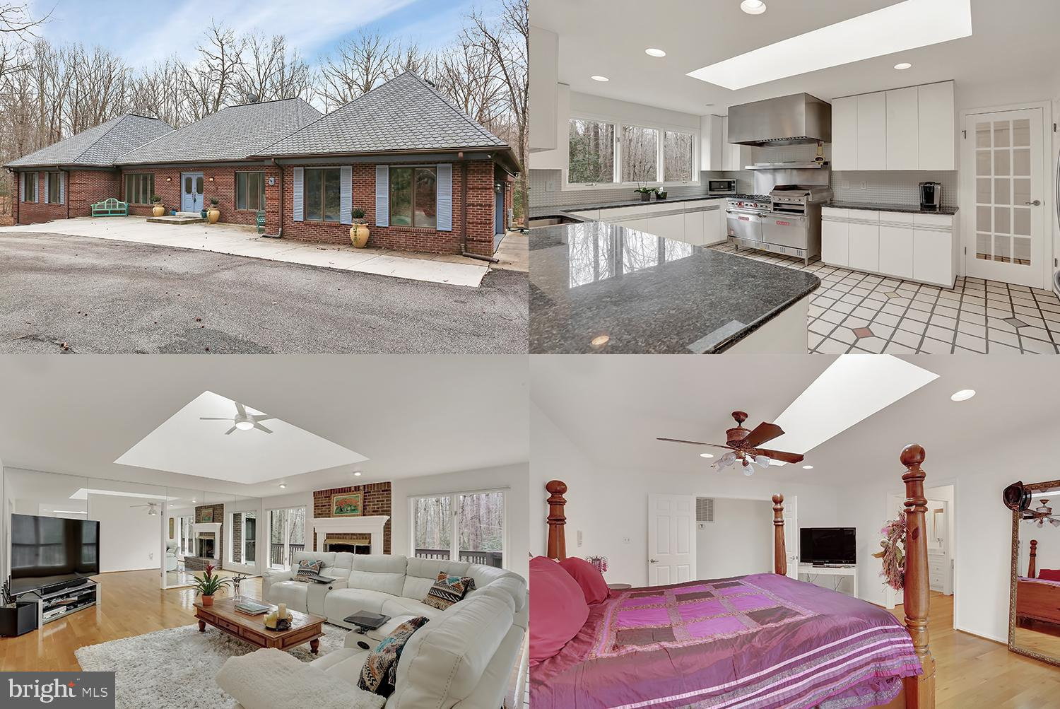 This one of a kind private Estate is surrounded by 9 secluded wooded acres in Fairfax County.  7 BRs and 5 BAs.  The fully finished lower level offers multiple options and uses with a separate entrance and driveway, two rec rooms, a complete kitchen, 3 bedrooms, a den/gym, a renovated full bath and separate laundry room.  The upper/main level features a gourmet kitchen with a breakfast bar, stainless steel appliances, granite counters.  Two separate living spaces and two kitchens make this a perfect home for residents and guests, or au pair, in-laws, or additional rental income.  Located near Belmont Bay on the Potomac, two state parks and Laurel Hill golf courses.  Very close to Ft. Belvoir, the Lorton Market Center, VRE and I-95.  LOTS of house and land for the price!