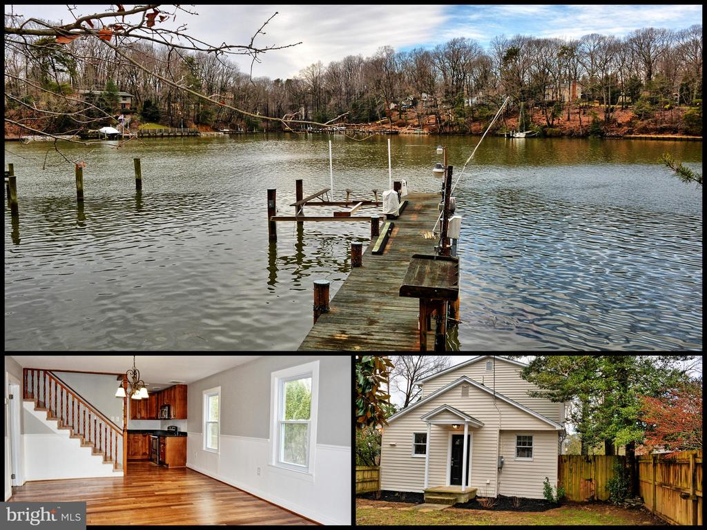 Beautifully updated 3br 2.5 baths waterfront home on Mill Creek with breathtaking views. Updated kitchen w/SS appliances and granite counter top. Gleaming HW floors. Updated baths. Pier and 7+ depth. Pier has 4 slips, 2 lifts, water & electric. MUST SEE!