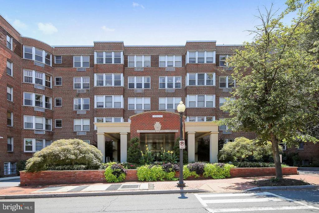 """Historic """"Best Addresses"""" building on Rock Creek Park One block from Embassy Row, Rose Park-tennis courts, softball field, playground. Delightful garden roof deck, beautiful landscaping. Professional staff on site, 24-hour front desk. Package receiving locker system. Dry cleaning pick up and drop off. Exercise Room. All utilities included (water, electric, gas), excluding cable/telephone D-1,2,3,6, and G-2 bus stop at building, walk to Red Line. Parking Available to Rent from Other Owners in Building. Cats and Birds are welcomed pets on a case-by-case basis. $300 Move-In Fee,"""