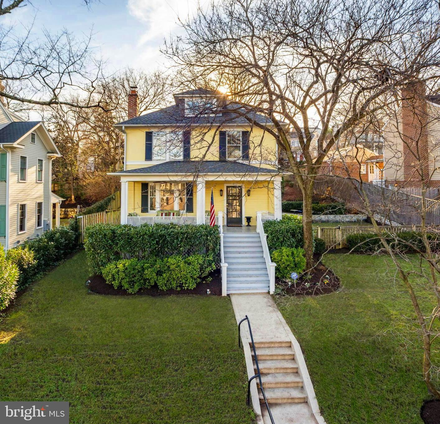 Owners have renovated this charming home top to bottom this stately 1900's home.  Just 4 blocks to King St  metro.  High Ceilings. Sports court plus a large stone patio and  lush lawn.  Entertain a 100+ with this terrace and space.  Renovated eat in kitchen and brand new white marble baths. Recently replaced roof, HVAC, HWH .  Hardwood floors just refinished and freshly painted.     Spectacular views of Masonic Temple.  A porch you can see for miles.  Finished 4th level w/ TV hang out room with built in desk and lounge area.  Immaculate yard with large grassy play area, brick terrace and fun on the sports court