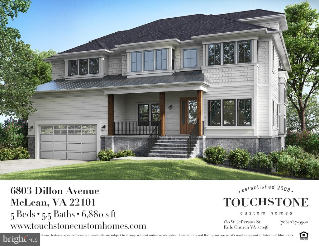 **DELIVERY LATE SPRING 2019**New construction by Touchstone Custom Homes. Approximately 7000 square feet, with three finished levels, this two-car garage home combines lifestyle living and practical design, while maintaining key architectural features. Sophistication and comfort are apparent as you walk through the front entry and into the main level with its ease of flow and open layout. A well-appointed kitchen is ready for you to explore the chef in you. There is an elegant master bedroom suite with his and her walk-in closets and a luxurious master bathroom on the upper level, with 3 additional en-suite bedrooms. A spacious, finished loft is located an the second upper level, making a perfect home office or playroom/craft area. A 5th bedroom and 4th full bath are situated on the lower level, as well as a spacious recreation area and exercise room, which complete this home. This is in-town living at its best, with proximity to downtown McLean, shops, restaurants and McLean High School. $500 Buyer Credit for  closing with Allied Title.