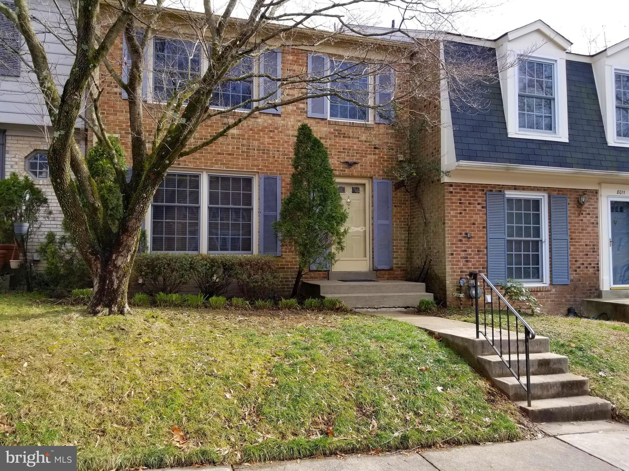 Large, well-maintained townhome in a tranquil neighborhood with three bedrooms, two full baths, 2 half baths, dining room, living room, and family room. Entry level has a rear walkout to a spacious deck overlooking a grassy courtyard. Neighborhood is surrounded by wooded areas and has an entrance to Fairfax Cross-County Trail. Common areas include two playgrounds and basketball court, with tennis courts nearby. Close to shopping, dining, care facilities, and schools. Less than five miles from Springfield Town Center, Franconia-Springfield Metro Station, Interstate 95, and commuter lots. Short commute to DC, Pentagon, Ft. Belvoir, and several federal facilities. Commuter bus stop is a very short walk.  Less than 3 miles from the new National Geospatial-Intelligence Agency   building.  Short drive to shopping, post office and medical center.