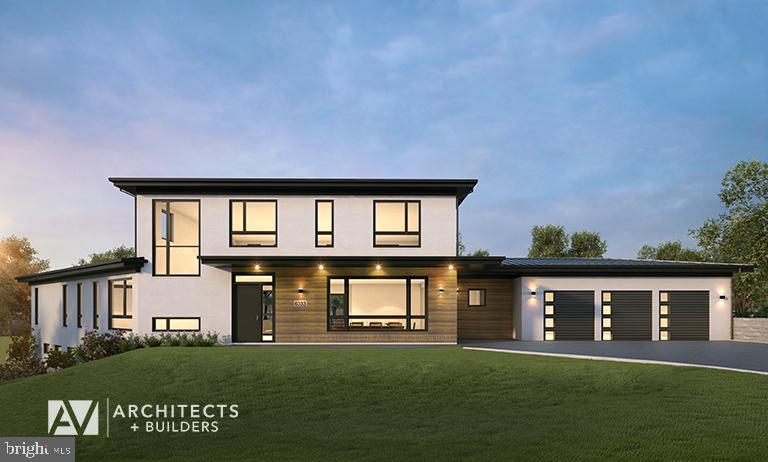 Located in the heart of McLean, Virginia and measures just over 8,700 square feet. The site is nestled at the corner of Old Chesterbrook Road, providing an ideal space with presence and natural views for this unique modern home design by award winning AV Architects + Builders. Spread throughout three levels, the home contains five bedrooms, six full bathrooms, one half-bath, and a three-car garage. The main level of our modern home design features an open-floor plan designed to entertain family and friends. The entry flows into both the grand dining room and the central area, dedicated to the kitchen, breakfast and a double height great room that opens to a large outdoor deck with picturesque views of the expansive backyard. Located just off the garage is a functional mudroom that features plenty of storage space. In addition to a large home office and powder room, the entire left wing is dedicated to a private master suite with an expansive custom his/her walk-in closet, a master bath with a rainfall shower and a free-standing soaking tub with his/her vanities. The upper level of this modern home design features three generously sized en-suite bedrooms with full baths and closets with a full-size laundry room with plenty of storage space. The lower level of our modern home design also features an en-suite guest bedroom with full bath and walk-in closets amenities. It also includes an expansive recreational room with a glass enclosed wine cellar to house your prized wine collection. To finish out the lower level, we added a full exercise room paired with a full bath with direct access to the outdoor terrace and complimented the house with plenty of storage space. The materials we used for our modern home design are of the highest quality brands. We wanted to hand-select materials that would last for years to come, require little to no maintenance, and compliment the modern aesthetic of the home. The home features aluminum-clad oversized windows, fiber cement rectang