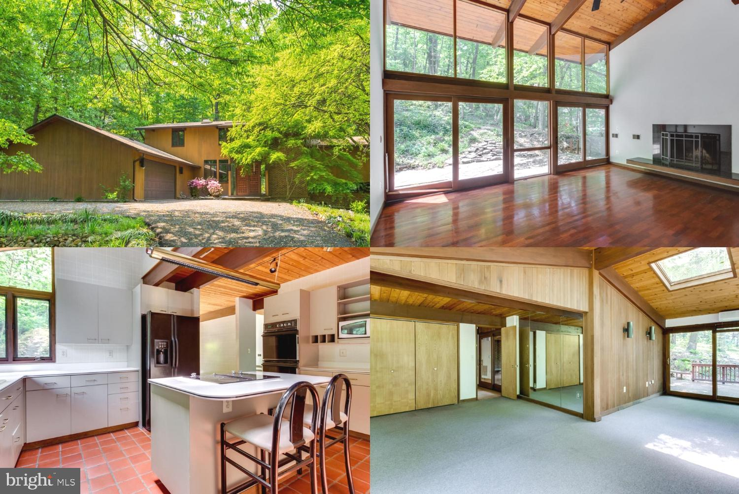 Retreat from work and relax in your convenient and contemporary 4BR 4BA home in Alexandria. Close to DC this unique home has easy access to I-395. But once your home you are surrounded by a 1 acre wooded lot. It's private but with floor to ceiling windows and skylights, there is lots of natural light. A large living room is accented by beautiful hardwood floors and a warm wood burning fireplace, as well as a cathedral ceiling. The next level down leads to a comfortable family room with another wood burning fireplace which overlooks the indoor solarium which features a sunken jacuzzi hot tub. The separate and private master BR suite is complimented by a large master BA with its own soaking tub. The gourmet kitchen features include a dual wall oven, tiled floor, stainless steel appliances and a central island. Upstairs you can retreat to a loft study overlooking the living room with backyard views. Do not miss this one-of-a-kind residence/retreat!