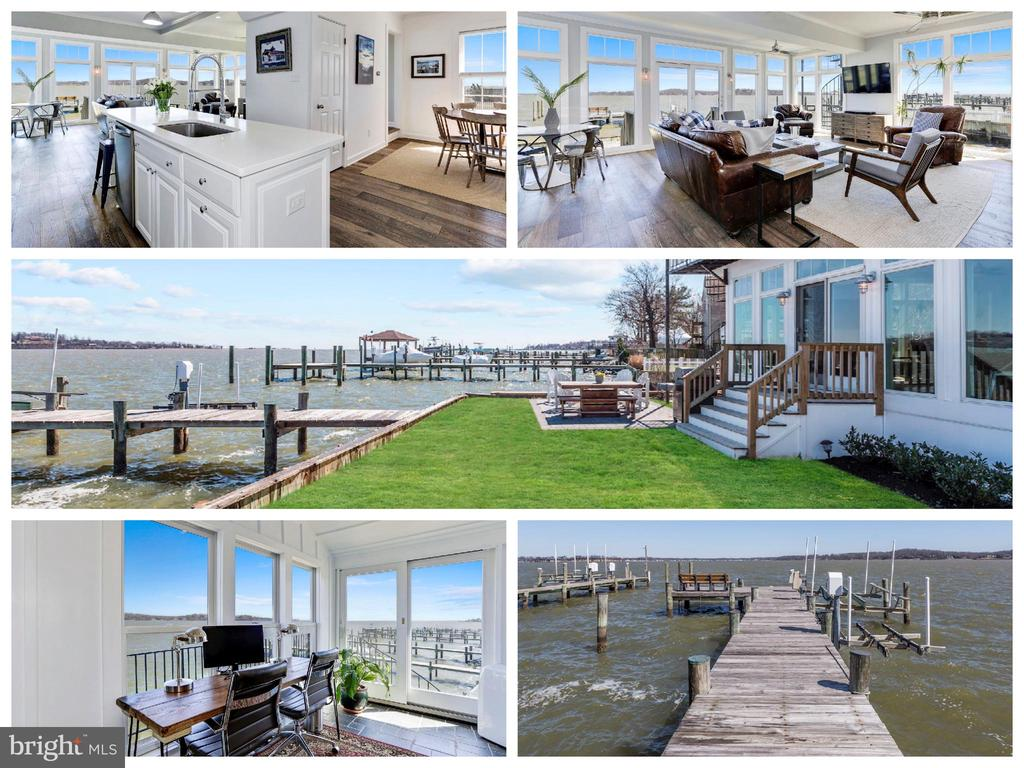 Waterfront living in Broadneck School District! Beautifully and fully remodeled waterfront with w/amazing 180 degree+ panoramic sunrise and sunset views of the Magothy River & Chesapeake Bay, open floor plan, gourmet kitchen w/quartz, SS appliances & island. All renovated bathrooms, new hardwoods through out. private pier w/ boat and jet ski lift , detached garage w/in law suite above w/separate kitchenette, living area, full bath and bedroom. First floor den could be 4th bedroom in main house.  Extra storage room in garage. Private office and balcony off MBR with stunning views. MBR updated with Carrara Marble. Sits alongside protected secluded beach. Voluntary HOA - Community Offers Boat Ramp, Kayak Rack, Picnic Area , Playground, Clubhouse and Beach on the Magothy at $45 per Year.
