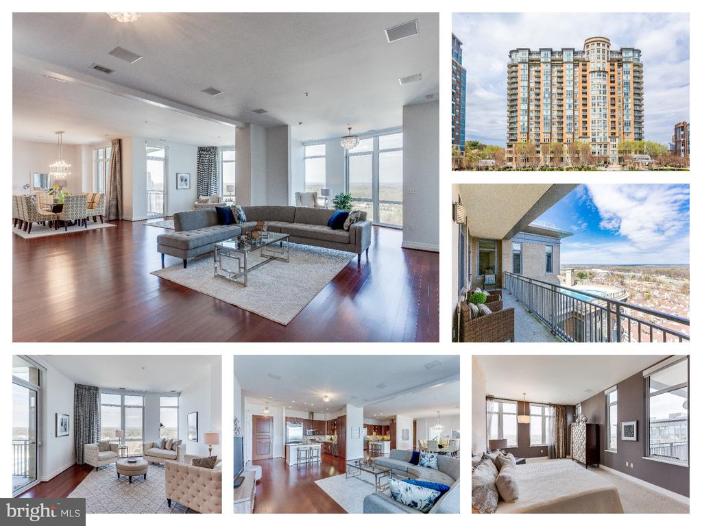 RARE OPPORTUNITY! OPEN BY APPT EVERYDAY. One of a kind 4 BDR | 4.5 BATH | 2 Balconies | 4 Parking Spots | 2 Storage Units | 2 Dogs Allowed | 3460 SF!! LARGEST exclusive Penthouse features expansive top-floor views set in a private & secure complex. Once 2 separate units, this one-of-a-kind home has an open floor plan beaming with natural light and spectacular views. This spacious condo includes 4 bedrooms, both masters with balconies, 2 gourmet kitchens with Viking appliances, 4.5 luxurious baths, and a spacious living/dining/entertaining areas. The generously proportioned interior flows effortlessly from the open-plan living space to the private covered balconies from which you can admire the unobstructed views. This building has it all - as a resident you will have access to lifestyle amenities including a rooftop pool, fitness center, 18th floor sky bar, concierge service and underground secured parking. Enjoy having Harris Teeter & Starbucks right outside your door and minutes to Tysons Corner Mall, Restaurants and METRO.
