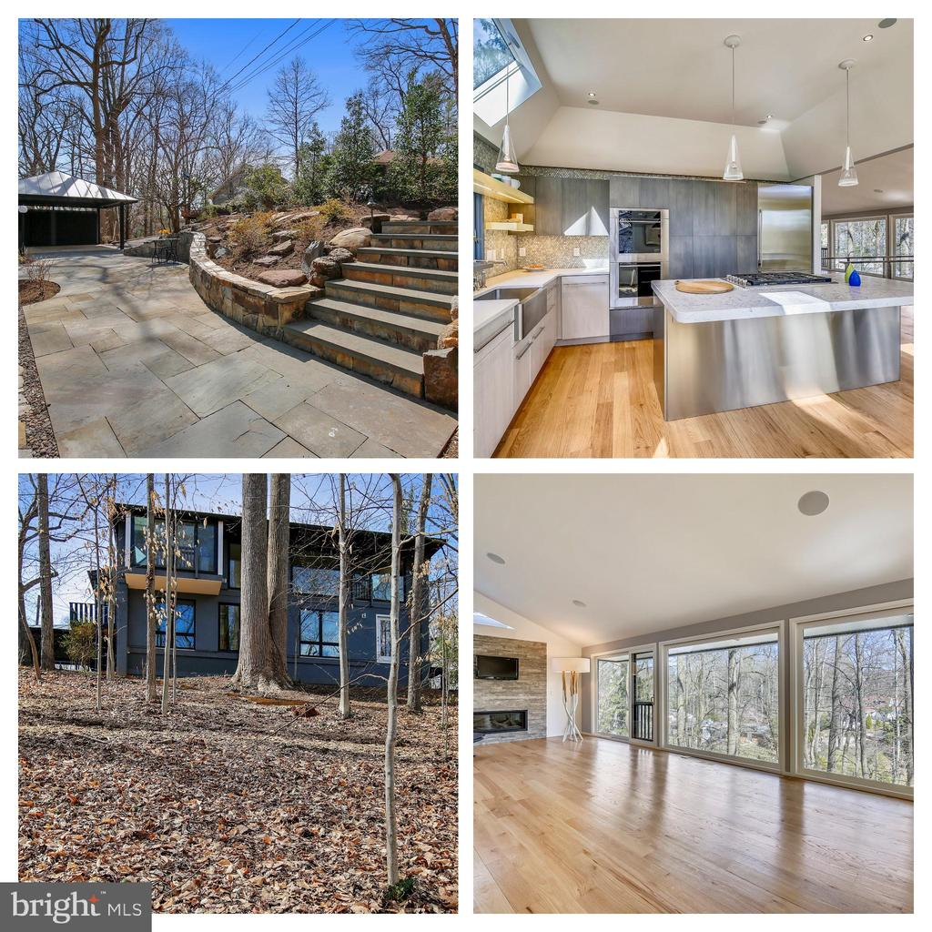 This mid-century modern Glen Echo Heights home has been completely and masterfully rebuilt with the concept of ~letting the outside in~, utilizing only the finest in finishes and materials throughout.  The first floor owner~s suite features a modern bath with a BOFFI sink and mirror as well as a stunning accent wall in marble.  A bonus room on the same level could be an office or walk-in dressing room.  Expansive floor-to-ceiling WEATHERSHIELD windows transport the viewer into the treetops of Glen Echo Heights.  Nothing spared:  new walls, electrical, flooring, and plumbing; HVAC systems (two-zone), a tankless water heating system, and 5~ red oak flooring, solid maple doors, and a MAGNOLIA home audio system.  FLOS, BO CONCEPT and WATERWORKS lighting throughout the home.  A refined, modern kitchen with cabinets from CHRISTINA, WOLF double ovens, a SUB-ZERO refrigerator and a JENN-AIR down-draft stove; farmhouse sink, faucets and tile from WATERWORKS; a Caesar Stone quartz ~Athena~ countertop sits atop a stainless-steel island.  The floating staircase continues the striking views to the second level with three additional bedrooms and a full bath with PORCELANOSA sink and tub and WATERWORKS tile; a generous family room and service room.  Award-winning Fine Earth Landscaping provided complete landscaping services adding an extensive stone terrace with lighting.  A close-by neighborhood path leads to a park with playground.  The C&O Canal is nearby, as is Glen Echo Park with art and dance programs for children and adults.  The D.C. line is just 2 ~ miles away ~ enjoy restaurants like Black Coffee, Et Voila and many more; close to downtown Bethesda too ~ making this home a rare find in this highly sought-after neighborhood in the Whitman school district.