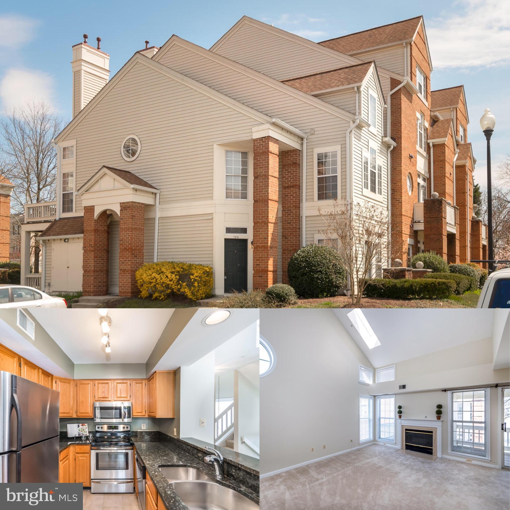 Stunning 3 Level End Unit Condo with Ground Level Entry! Sun Drenched Open Floor Plan Offers High Ceilings, Newer Carpeting, and Fresh Neutral Paint! Beautiful Granite Kitchen with Stainless Steel Appliances, Breakfast Bar, Tile Flooring, and Ample Cabinetry. Spacious Living Room with Gas Fireplace and Dining Area with Door Leading to Covered Deck! Main Level Master Suite with Two Closet and Dual Entry Bathroom. Upper Level Boasts a Second Bedroom and Full Bathroom with Dual Sink Vanity.  Stacked Washer/Dryer. Extra Secure Storage and Access to Utility/Storage Room Off Deck. Nearby Metro Station and Commuter Routes. Enjoy the Kingstowne Amenities and Across from Restaurants, Shops, Movie Theatre, and More!