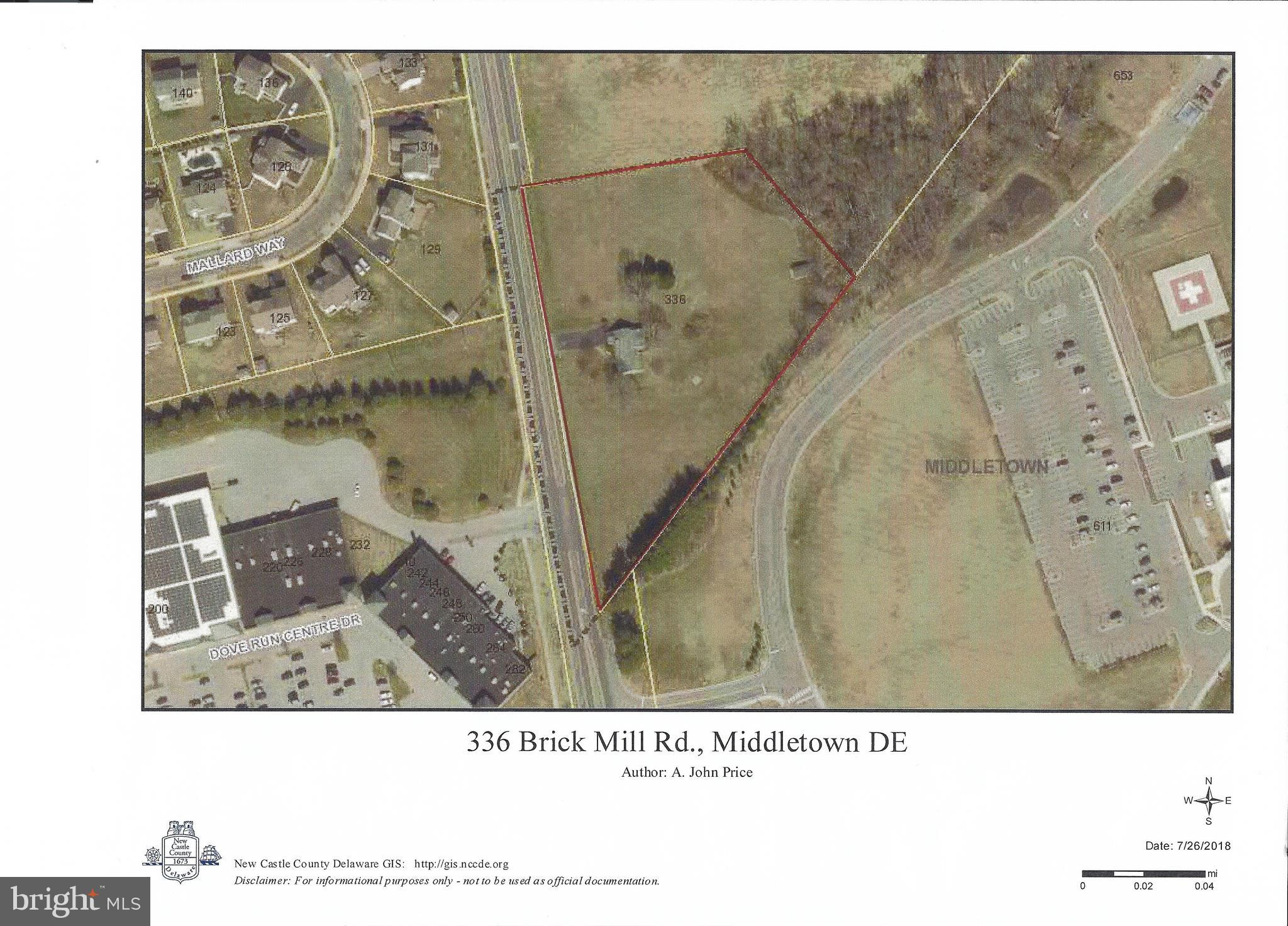 3.52+/- acres situated on the Easterly side of Brick Mill Rd.  Adjacent to the Christina Hospital Medical Complex and across from Dove Run Center, this property lends itself to multiple uses.  A must-see property for the enterprising developer.