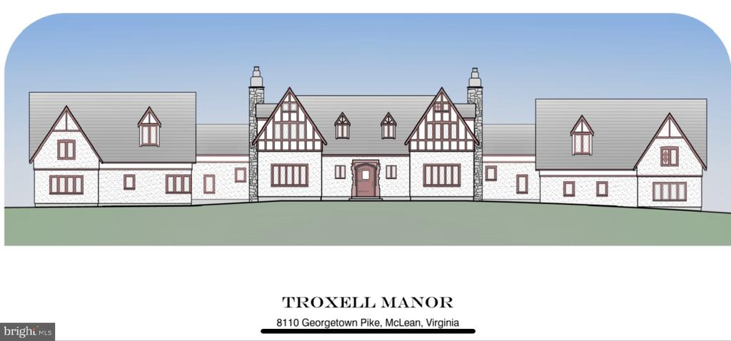 Troxell Manor, an authentic 1927 English Tudor, rich with history, is a true treasure. Set majestically high on 3.6 acres, the grounds with tennis court are spectacular. Proposed additions to the existing manor home will offer approximately 8,800 total finished square feet of interiors with 6 bedrooms and 6 full baths, 2 powder rooms, expanded gourmet kitchen and main level master bedroom suite.    All modern updates and conveniences will be thoughtfully incorporated as to preserve its Old World Charm and craftsmanship and its integrity as a notable landmark home. Proposed plan complements materials of existing quality and detail providing a relaxed, captivating interior for comfortable living and gracious entertaining.      Amenities will include a circular drive, motor court with attached rear load 3-car garage, media room, fitness room, guest quarters, paneled Library with wood burning fireplace, pool and poolside retreat.  An extraordinary opportunity for expansion. Also available ~as is~ for future consideration at $2,850,000. THIS PROPERTY IS ALSO LISTED FOR SALE AS LAND FOR $2,850,000   VAFX1057912