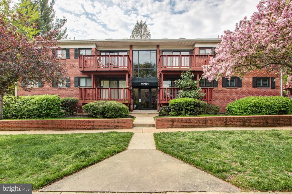 Cute 2BR condo about 1 mile to the King Street Metro and minutes to Old Town and Del Ray.  Bathroom remodeled in 2017.  Wood floors throughout.  Charming balcony.  Washer/Dryer in unit.  Windows and shutters new in 2018.   Major electrical upgrades including recessed lighting in 2018.  Large closets plus extra storage.~ Bike room.~