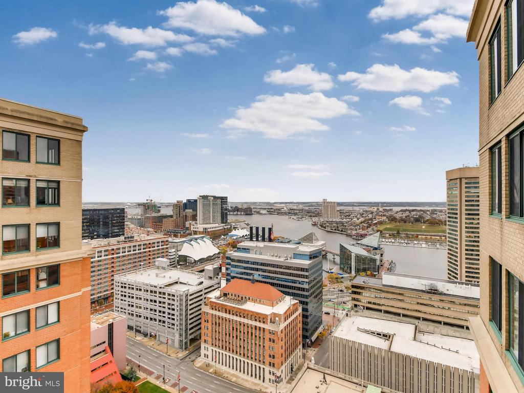 Fabulous Linden unit with private balcony overlooking the inner harbor! No better views.  9' ceilings, split bedroom design for max privacy.  Stainless appliances, granite counters, wood floors, gas cooking and fireplace!  Full-service building with 24-hour desk, rooftop pool, internet business center, state-of-the-art gym, and club room.  PARKING INCLUDED in attached garage.  Additional parking available.  Enjoy the high-rise lifestyle from the top of one of the most popular inner harbor condos!