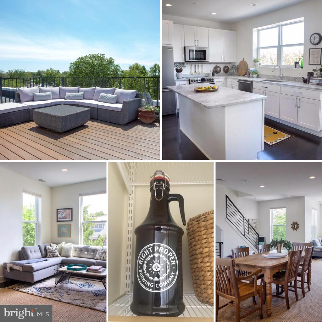 OPEN SUNDAY 1-3PM! AMAZING NEW PRICE! Private Rooftop Terrace with Panoramic City Views from this Enviable Brookland Location, Steps from Metro, Pints, Pubs, Bike Trails and More! Spacious open main floor is wide and versatile, the gourmet kitchen is full of utility and style with large social island, steel and stone, light and bright, the second level delivers three full-sized bedrooms, including master bedroom with walk-in closet and en suite bath with double vanity, second hall bath with tub, skylight and laundry, open and spacious light-filled hallway, and walk-up to your private rooftop oasis. Plus Parking Included! Must See!