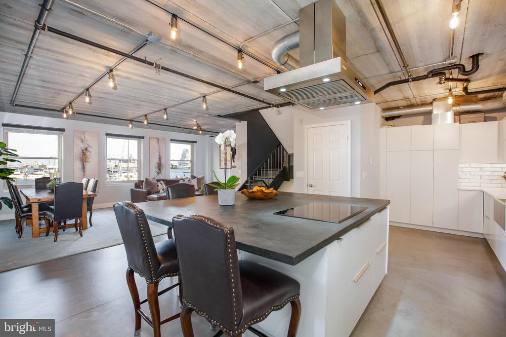 Rare, one of a kind, end unit, water front, pier home in the heart of historic Fells Point.  Custom modern design interior loaded with high end finishes.  Built for entertaining while you cook, relax by the fireplaces, and gaze at the bay.  All the custom touches you can imagine, even some you never thought of.  Dream kitchen with 326 cubic feet of interior cabinet space, Blum bifold cabinets, soft close doors, and cabinet lighting.  Custom poured concrete kitchen island has built in USB outlets, 8 electric outlets, built in two zone wine / beverage fridge (Avantti dual zone)Island Range Hood, the list goes on and on.  Poured and heated concrete floors thru out.  Large walk in custom closets, even a fireplace in the master bedroom.  Japanese soaking tub, bidets in all bathrooms.  All high end Samsung appliances, new dual zone HVAC,  new high end windows, many smart home features, the list truly goes on and on. 24h door man, security, package receiving, Unobstructed harbor view from 75 percent of the windows.  Inner Harbor living does not get much better than this.  Truly living on the water.  Doc slips available in front of your home.  The Pendry, restaurants, museums, bars, water front promenade, are all seconds away.
