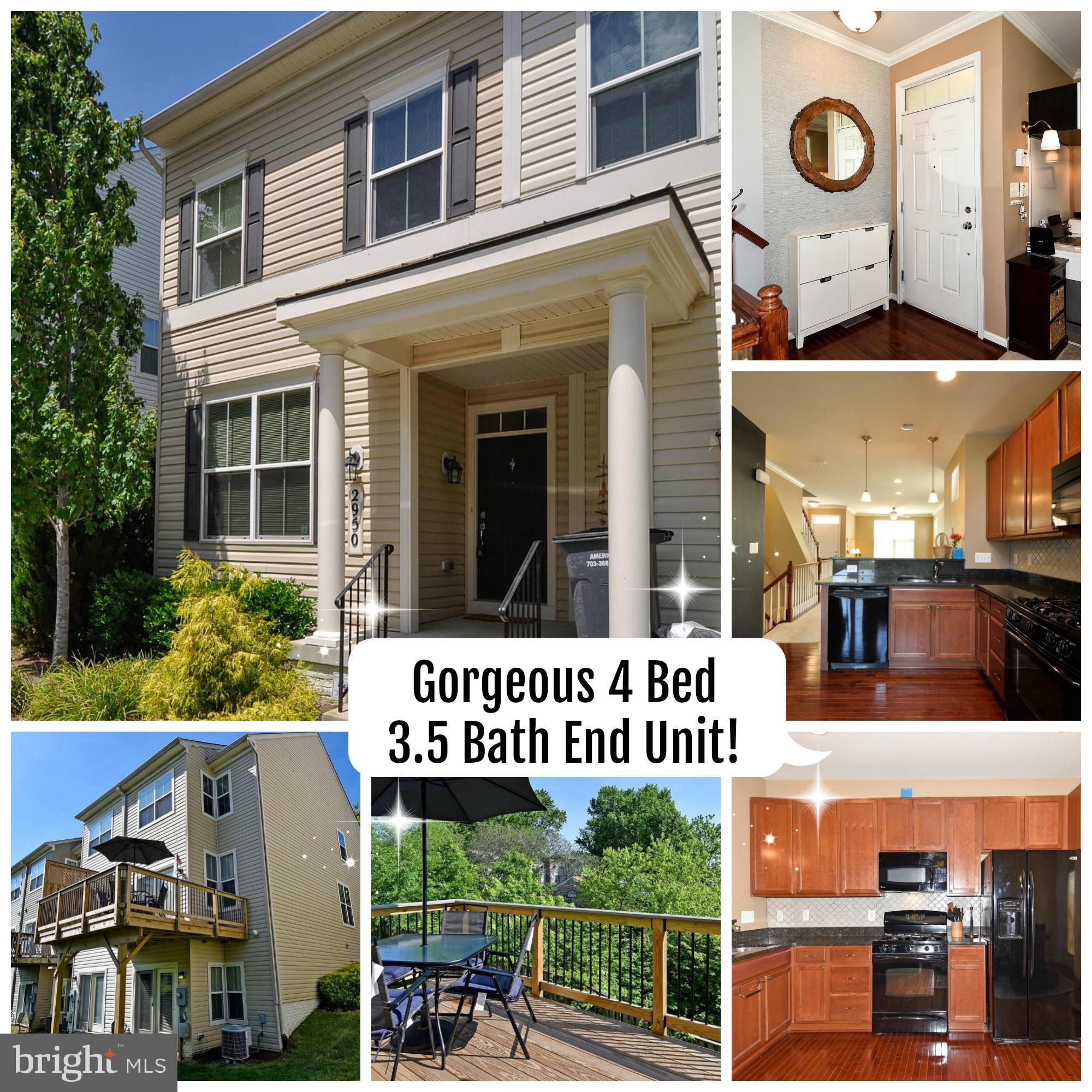 Beautiful, light and bright end unit townhouse conveniently located close to shopping, dining and major commuter options. The home features 4 bedrooms 3.5 bathrooms, upgraded kitchen and bathrooms, over sized deck and so much more. This home is located in an amenity filled neighborhood offering outdoor pool, playgrounds and Club House with Fitness Center.