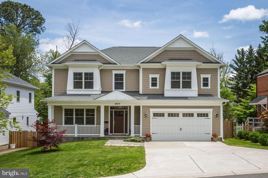 Nearly new sunny colonial so close to NIH and downtown Bethesda! Built in 2015, this spacious home boasts gleaming wood floors, white kitchen w/stainless steel gourmet appliance, breakfast room opening to deck and great fenced yard.  Family room off of kitchen with fireplace, office, and lovely LR & DR with open plan perfect for entertaining.  Upper level boasts impressive owners suite with ample closets and spa bath, plus 3 more bedrooms + 2 full baths.  Large laundry room on this floor, and a terrific gathering space/homework area/tv lounge on this floor.  Mudroom off the garage.  Lower level boasts two more bedrooms, full bath, exercise room and an enormous recreation room/future media space.  This model home is in turn key condition- don't miss!