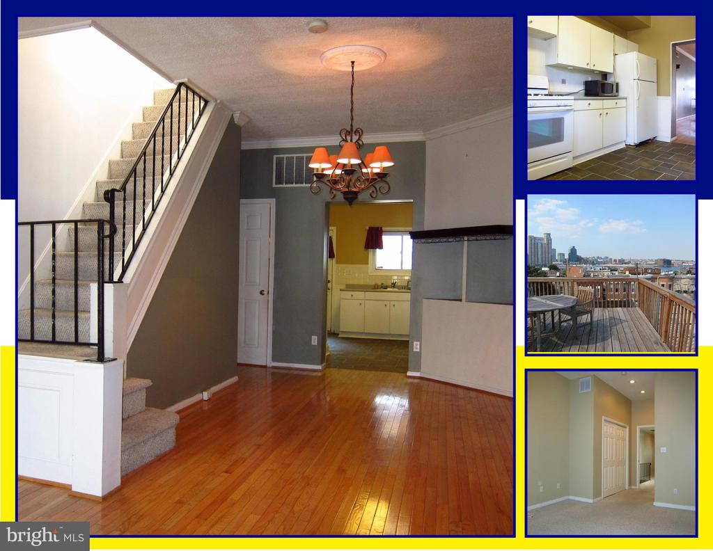 ROOMY 3 BEDROOM, 2.5 BATH TOWNHOUSE.  ROOF-TOP DECK, FINISHED BASEMENT, WOOD FLOORS, LARGE LIVING/DINING ROOM, LARGE KITCHEN, TILE FLOORING, SPACIOUS REAR PATIO, ROOF-TOP DECK AND MORE. CONVENIENT TO DOWNTOWN, FEDERAL HILL'S COMMERCIAL DISTRICT, INNER HARBOR, I-95 & MARC TRAINS. IMAGINE... YOUR NEW HOME!
