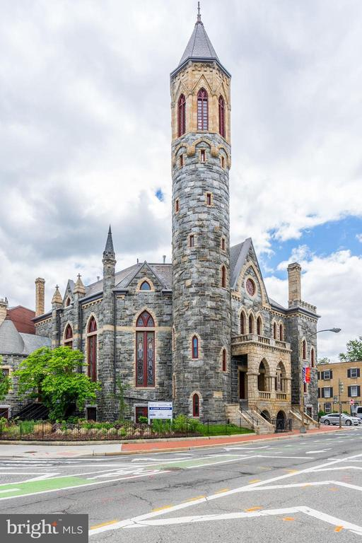 Own a piece of history in this 125-year-old Romanesque Revival-style church conversion. Extra-large 3 story townhouse condo in the prestigious Stanton Tower.   2019 DC Preservation Award Winner with exceptional details. Featuring restored  stained glass windows, 16 foot ceilings, luxury finishes and private elevator. Owner-only access to newly rebuilt 130 foot high bell tower affording never before seen views of the city. A truly unique offering!Estimated square footage per building plans.